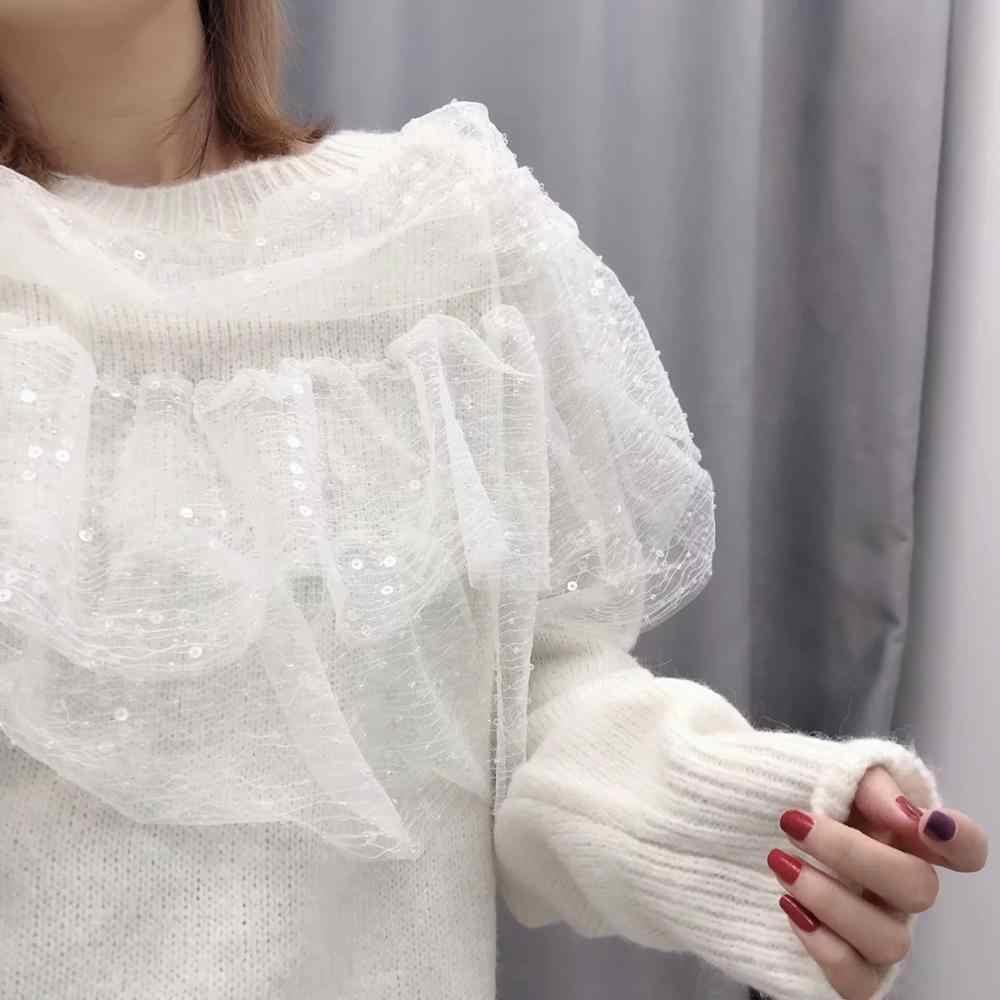 ZA neue herbst winter frauen weißen gestrickten pullover Layered Spitze Rüschen Pailletten tops chic dame Casual pullover weibliche pullover