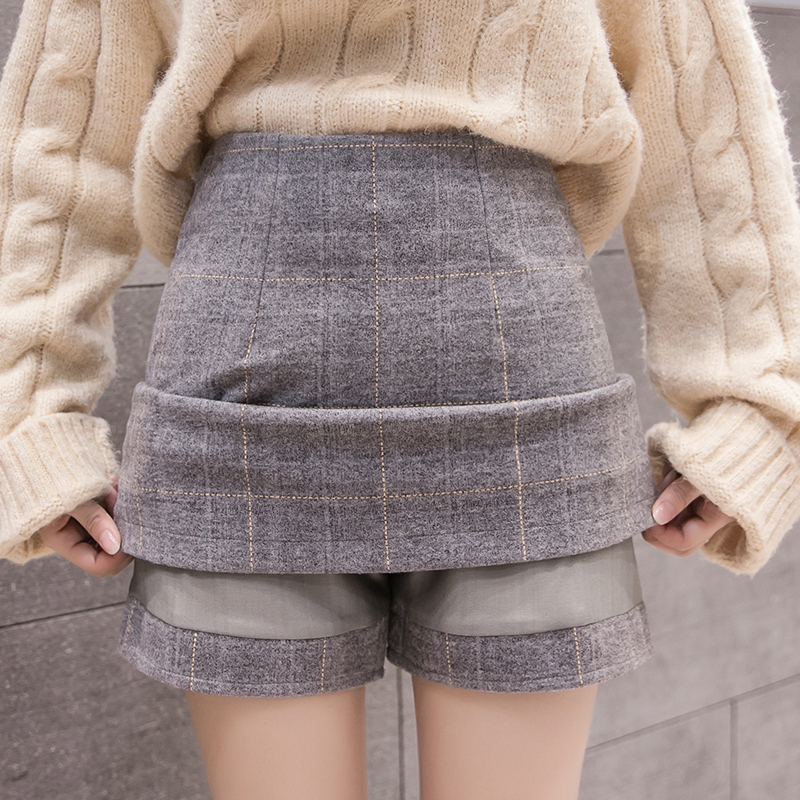 High Waist A-line Winter Woolen Skirt Women 2019 Autumn Vintage Plaid Mini Shorts Skirts Ladies Office Work Skirt Faldas Mujer