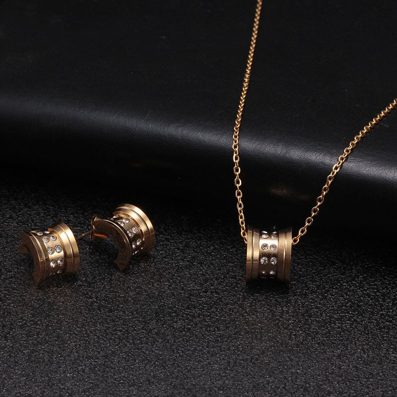 Crown Brand Stainless Steel Men Women Charm Jewelry Sets Luxury Wedding Party Necklace and Earrings For Birthday Gift
