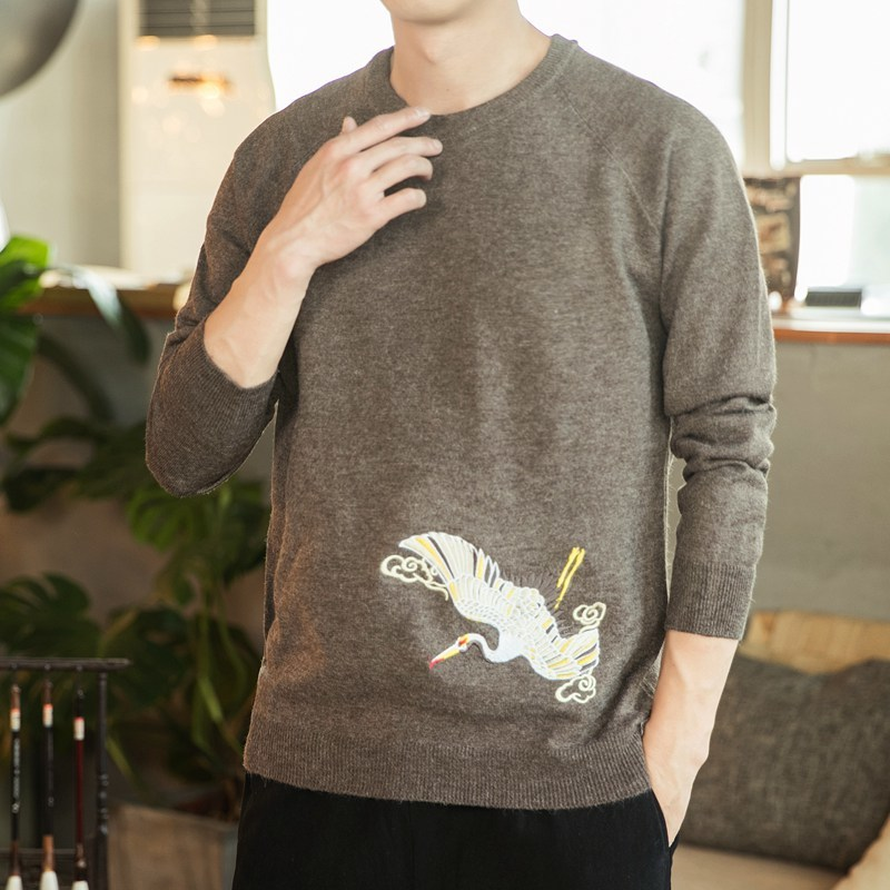 2020 Style Chinese Crane Print  Fashion Men Sweater Streetwear Casual Clothes Knitted Pullovers For Autumn Winter