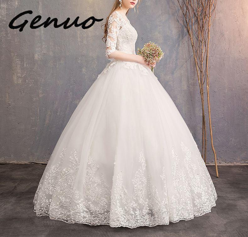 Nuevos vestidos De ceremonia De media manga 2019 nuevos vestidos De encaje De lujo bordado Vestido De gala Vestido De ceremonia puede Vestido hecho a medida De noiva-in Vestidos from Ropa de mujer    2