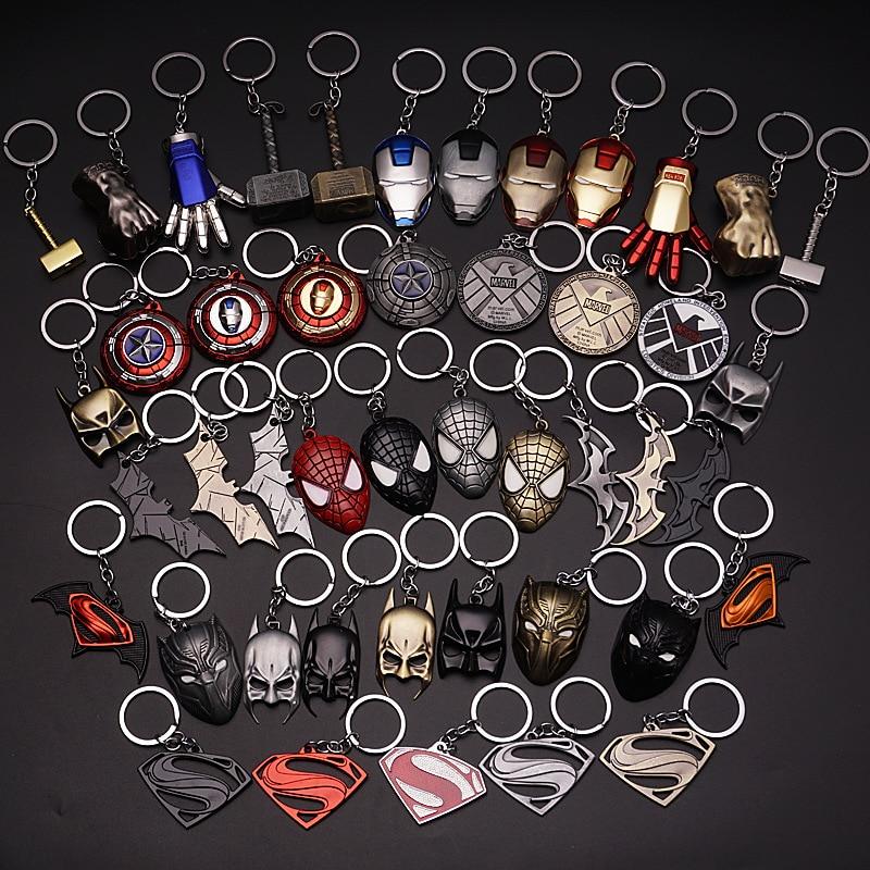 2019 Marvel The Avengers Keychain Thor's Hammer Thanos Gauntlet Captain America Shield Hulk Batman Mask Key Ring Wholesale