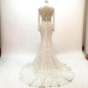 Image 4 - Vestido De novia De sirena con encaje blanco, manga larga nupcial, bordado con cuentas De cristal, para fiesta De boda, 2020