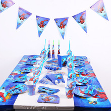 16 Pcs/Suit Disney Cartoon Marvel The Avengers Spiderman Birthday Party Supplies Children Disposable Tableware 2A03