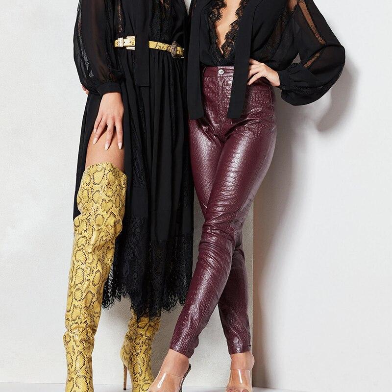 InstaHot Black High Waist Pencil Faux Leather Pants Women Casual Elegant Carving Print Ankle Length Pants Streetwear Trousers 43