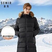 SEMIR Thick Warm Men Long Parka Jacket 2019 New Casual Winter Jacket Man Overcoat Male Outerwear fake fur collar Outwear