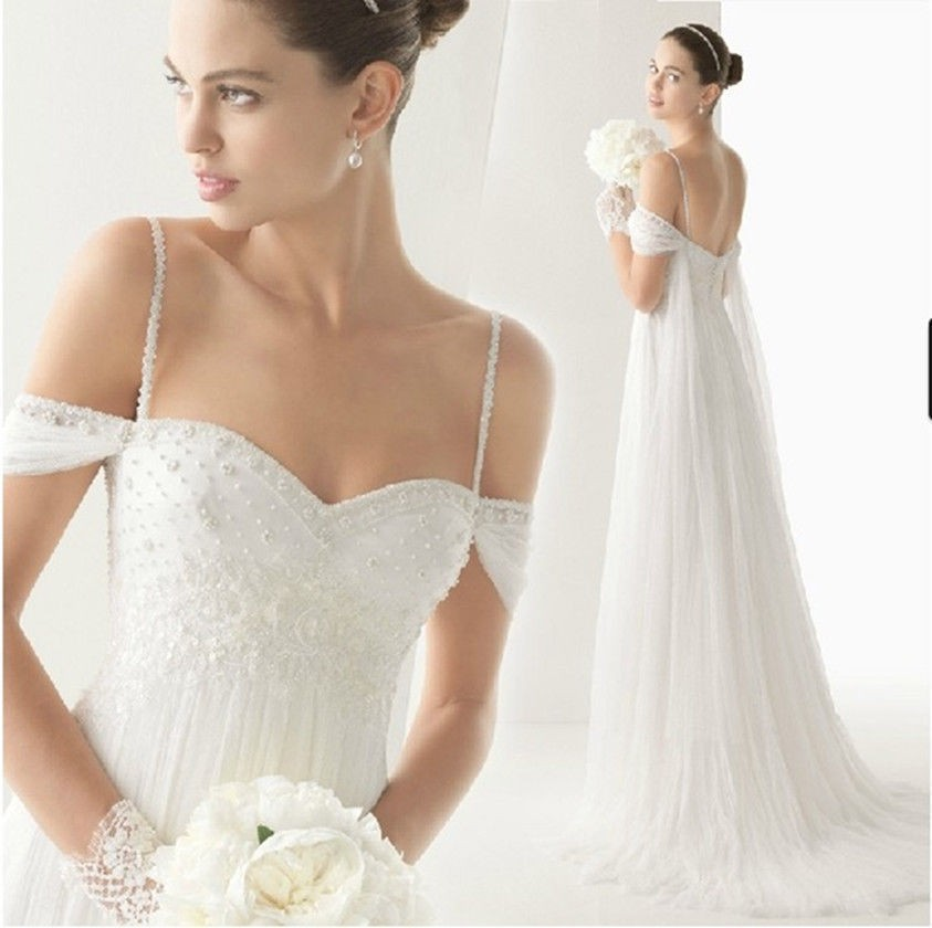 New Fashion 2015 White/Ivory Tulle A-line Sweetheart Cap Sleeve Beading Wedding Dress Custom Size Bridal Gown Free Shipping