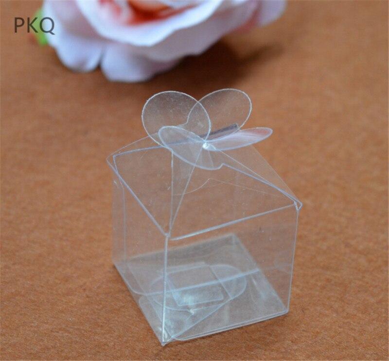 100 pièces petit PVC cadeau boîte carré Transparent en plastique boîte chocolat bonbons boîtes de mariage cadeau boîte emballage fête décor