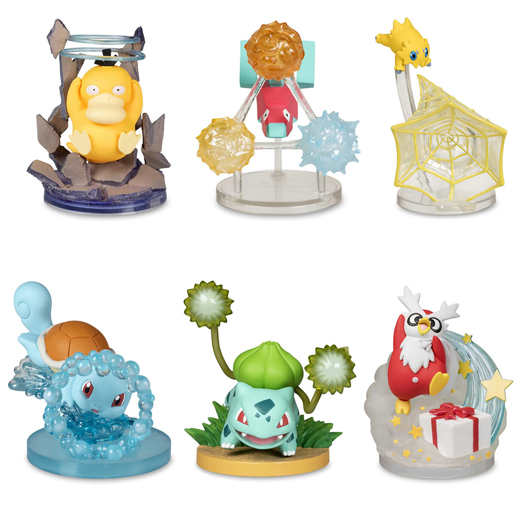 6Pcs/Set GK Bulbasaur Squirtle Psyduck Delibird Porygon Joltik Skill Scene Statues Action Figure Toys  pkm Gifts for Kids
