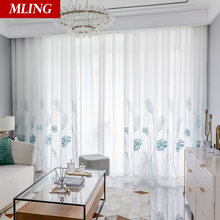 White sheer curtains for living room on windows tulle in bedroom