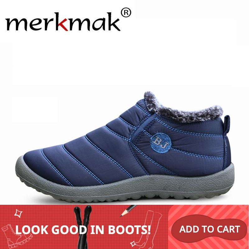 Merkmak Winter Men's Snow Boots Solid Waterproof Cloth Plush Warm Boot Comfortable Light Slip On Casual Man Shoe Big Size 46 45