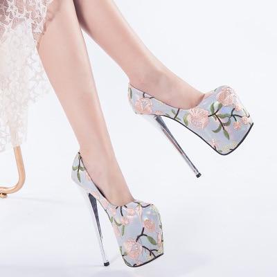 2019 Autumn Stiletto Pumps Women Shoes Autumn Platform Women Pumps High Heels 19CM Shoes Shallow Flowers OL Female Party Shoes