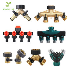 """Fast Shipping 1PC 3/4"""" 4 Way Brass Plastic Garden Hose Splitter Y Type Watering Connector Distributor For Outdoor Tap and Faucet"""