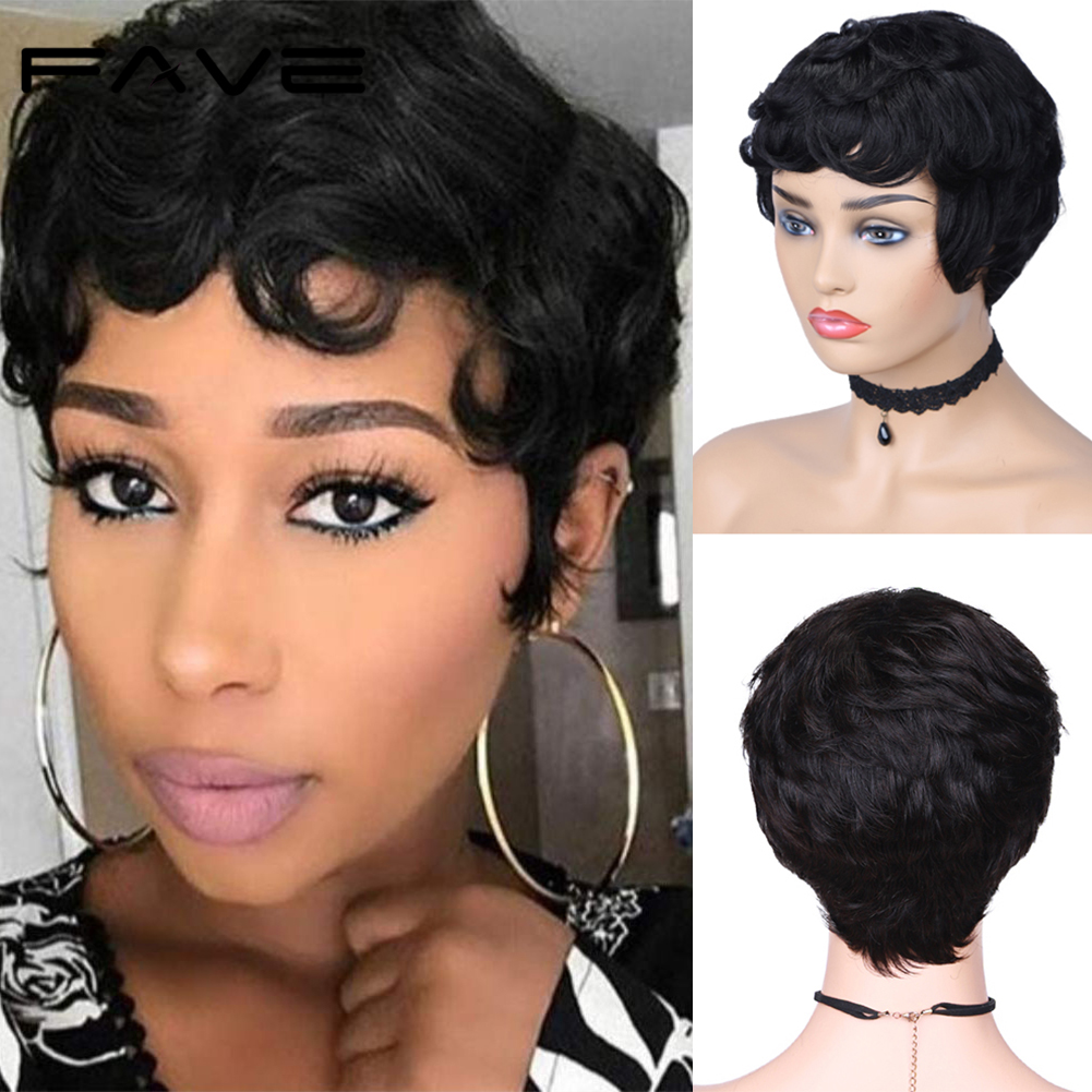 FAVE Short Pixie Cut Human Hair Wigs For Women Natural Black Remy Hair Natural Look High Density Glueless Cheap Human Full Wigs