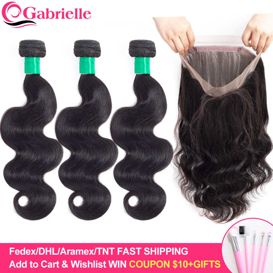 Gabrielle Human Hair Weave Body Wave Bundles With 360 Lace Frontal 130% density Natural Black Remy Hair Bundles with Closure