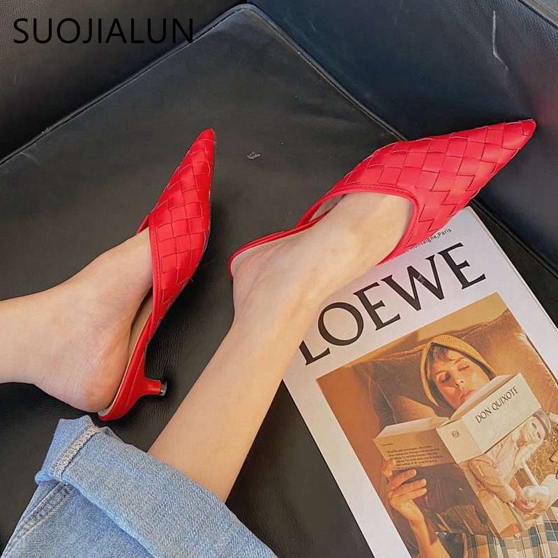 SUOJIALUN Women Low Heel Mules Sandals Fashion Weave Leather Slipper Pointed Toe Shallow Slip On Slides Shoes Zapatos Mujer