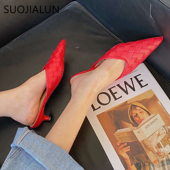 цена на SUOJIALUN Women Low Heel Mules Sandals Fashion Weave Leather Slipper Pointed Toe Shallow Slip on Slides Shoes Zapatos Mujer