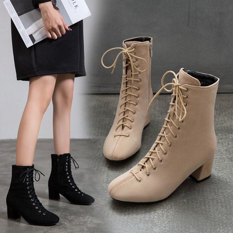 Women Ankle Boots Round Toe High Heels Pumps Lace Up Warm Matin Shoes Woman Chaussure Zapatos Mujer Gladiator Booties WXZ242