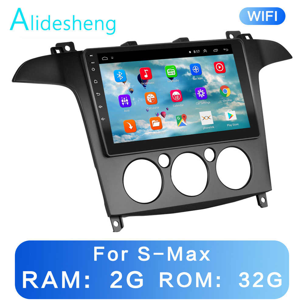 Manual / Auto para S-MAX MAX 2007, 2008 2GRAM + 32GROM 2.5D 2Din Android 8,1 coche reproductor Multimedia GPS WiFi BT