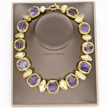 Necklace Jewelry Amethyst Pearl White Biwa Guaiguai 24-Kt 19-Freshwater Plated Gold-Color