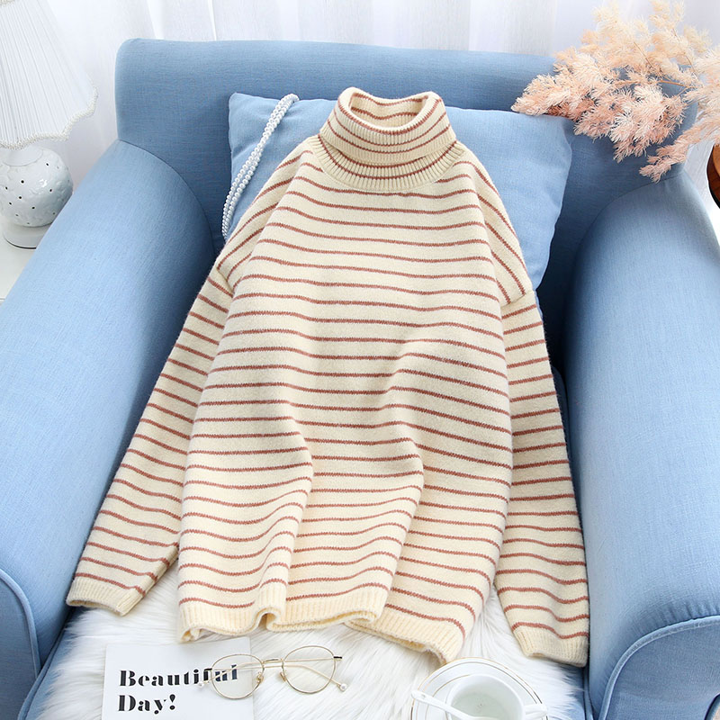 striped turtleneck women sweater and pullovers loose knitted slim lady elegant pulls fashion outwear coat tops