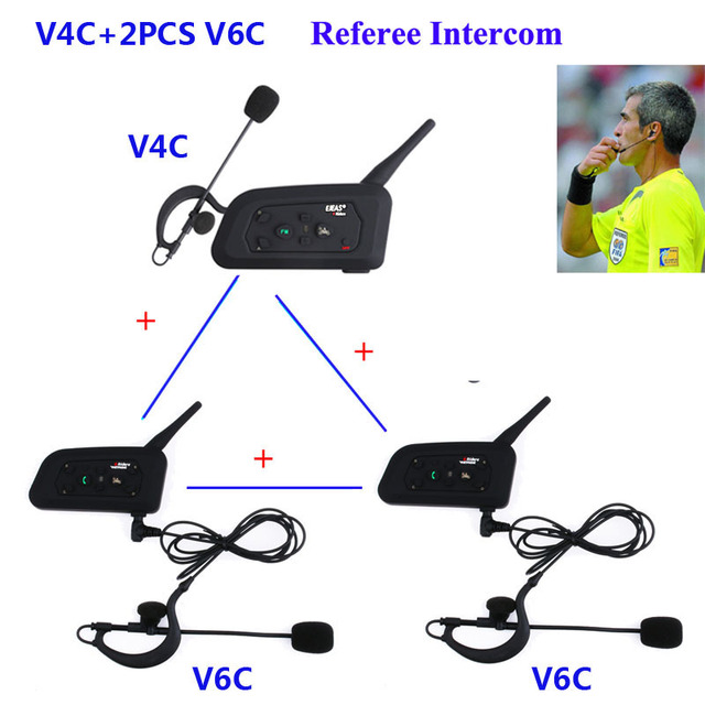 3Pcs/Set 1200M Intercom Full Duplex Two way Football Coach Judger Earhook Earphone Referee Communication System Intercom