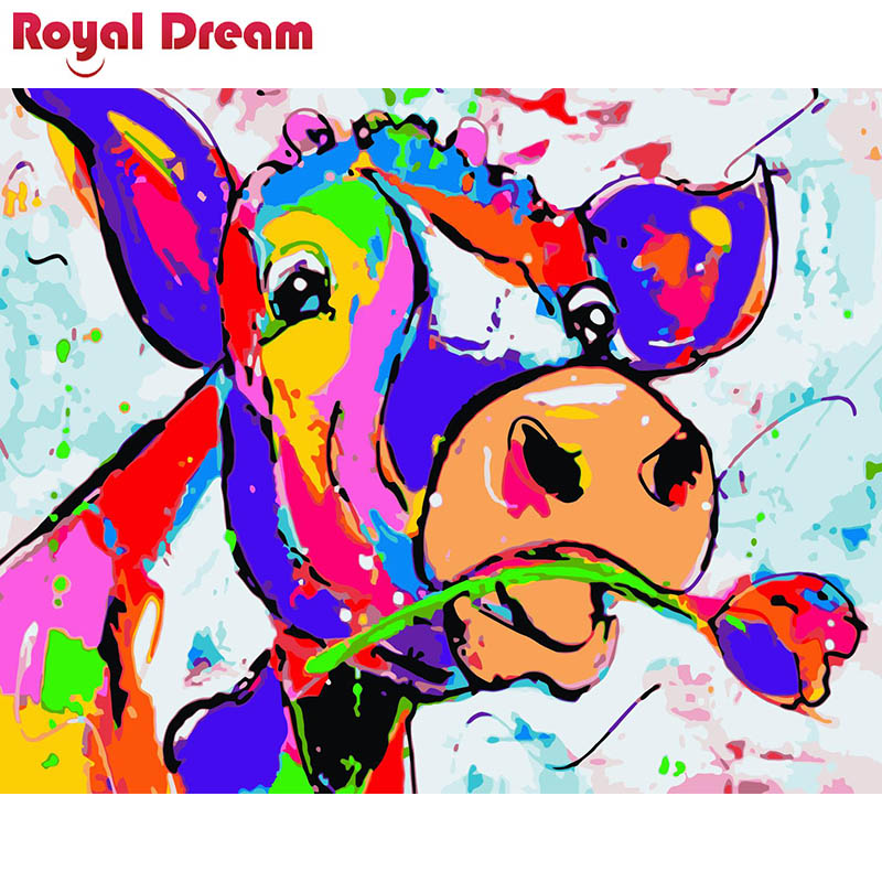 Rose Colored Cow DIY Painting By Numbers Acrylic Paint By Numbers HandPainted Oil Painting On Canvas For Home Décor