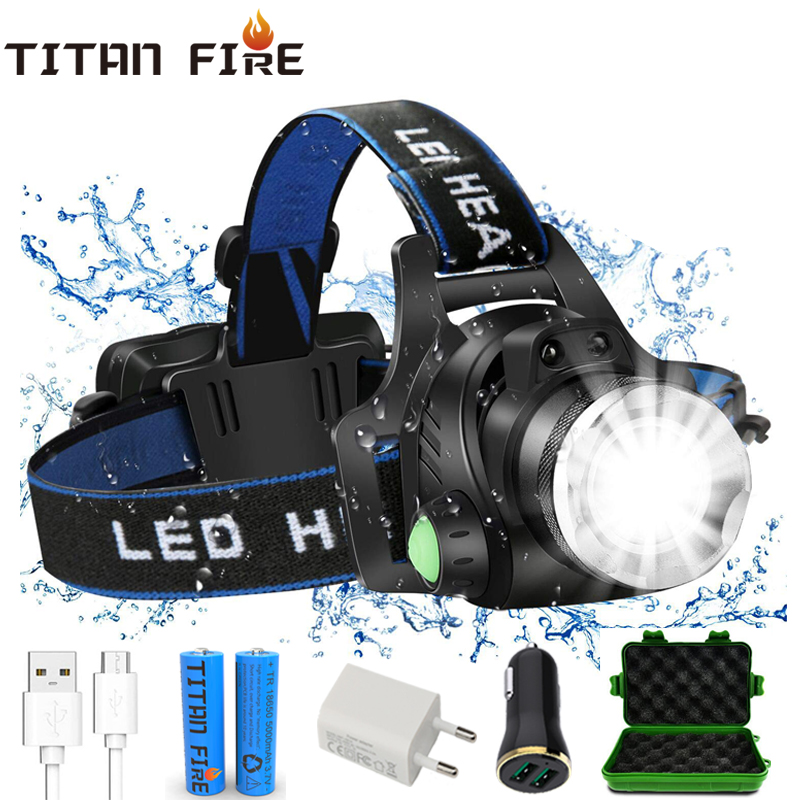 T20 TL900 LED Headlamp USB Rechargeable  IR Motion Sensor Headlight Front Light Control Waterproof Flashlight Fishing Camping