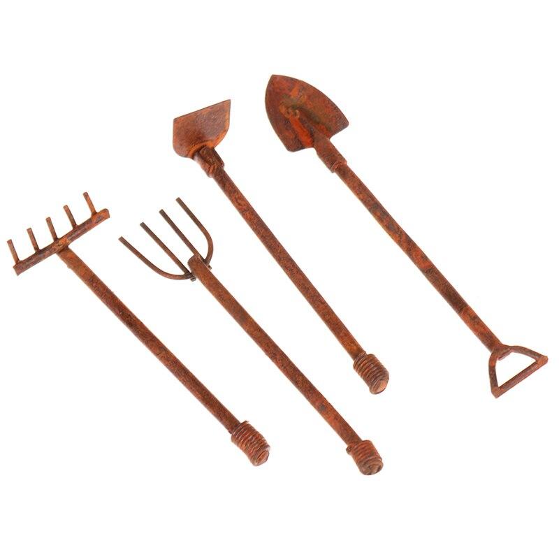 4Pcs/set 1:12 Scale Dollhouse Miniature Shovel Hoe And Pitchfork Farming Tools Fairy Garden Accessories Furniture Toys