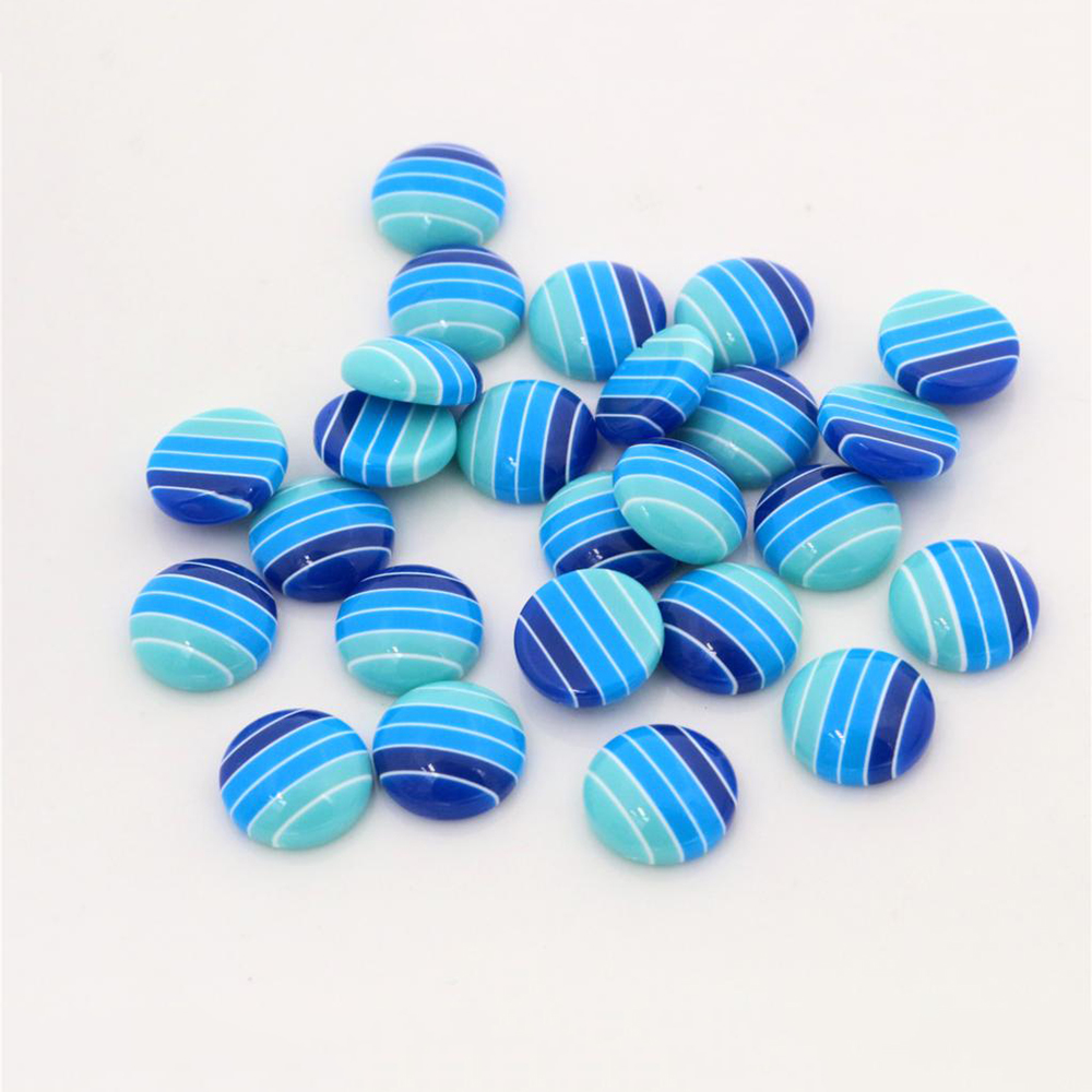 New Fashion 40pcs 12mm White Blue Colors Stripe Style Flat Back Resin Cabochons Fit 12mm Cameo Base Cabochons-W3-17