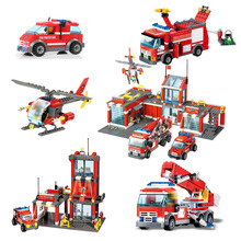 цена на Fire Fighting Trucks Car Series Fire Station Helicopter Boat Building Blocks City Firefighter figures man Bricks children Toys