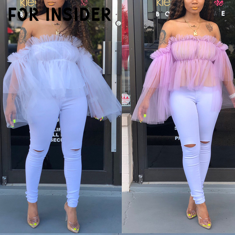 Elegant mesh white ruffle   blouse     shirt   women Long sleeve peplum pink   blouse   Sexy transparent off shoulder   blouses   tops plus size