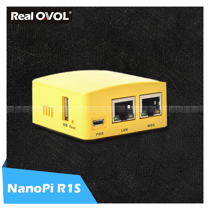 RealQvol FriendlyELEC NanoPi R1S Portable Small Route All Chi H3/H5 Dual Gigabit Ethernet Port 512M Memory OpenWRT Linux Pi Mini