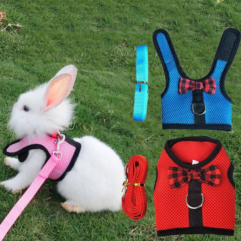 Small Animal Pet Mesh Leash Harnesses Cute  Accessories Rabbit Leash Lead Vest Mesh Harness Leash Pet Strap S M L