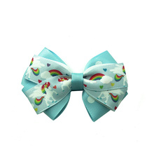 Adogirl Trojan  Ribbon hair bow for girl whirligig merry-go-round print Hairpin Kid Hairgrips Handmade Boutique Hair Accessories
