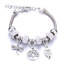 10PCS/LOT Dragonfly owl life Tree shape Bracelet Jewelry Silver Lobster Buckle Snake Chain Bangles Beaded Bracelet Fit Jewelry(China)