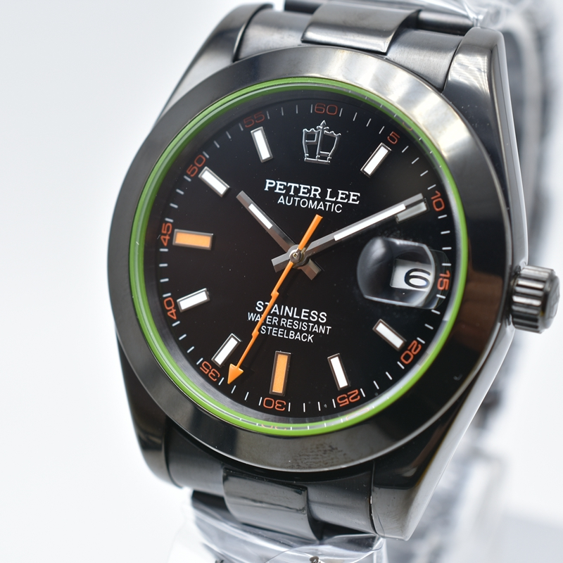 PETER LEE Mens watches top brand luxury automatic mechanical daydate black full steel 38mm round dropshipping Mechanical Watch | PETER LEE watch review | Mens watches top brand luxury automatic mechanical daydate black full steel 38mm round men wrist watch
