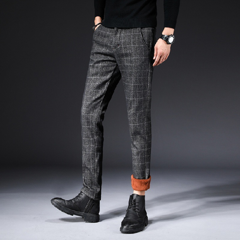 1098 Autumn And Winter New Style Brushed And Thick Casual Pants Men Slim Fit Versatile Plaid Peach Pants