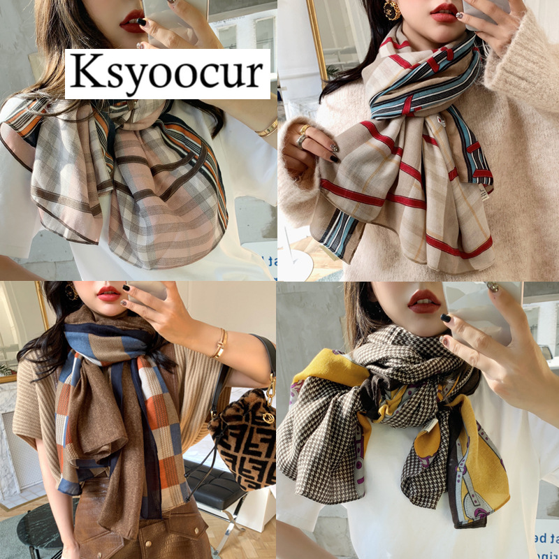 Size 180*90CM, 2020 New Style Cotton Linen Hot Selling Four Seasons Fashion Scarf Shawls And Scarves Women BRAND Ksyoocur E01
