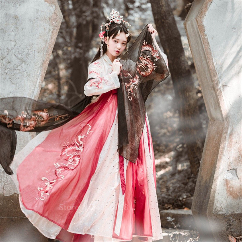 Hanfu Women Palace Dress Ancient Chinese Costume Embroidery Dragon Fairy Cheongsam Girl New Year Clothes Tang Suit Folk Dance