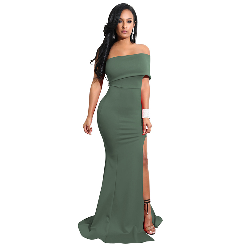 Trapless Long Solid Off Women Sexy Black 2020 Shoulder White Party Strapless New Maxi Dresses Elegant Dress Dress Femme