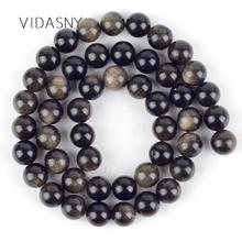 Natural Gem Gold Obsidian Stone Beads For Jewelry Making 4mm-12mm Spacer Loose Diy Necklace Bracelet 15inch Wholesale
