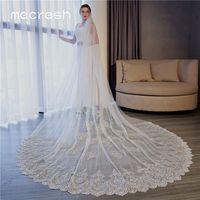 Mecresh 3 Meters One Layer Bride Cathedral Wedding Veil for Women Beige Flower Lace Edge Appliqued Bridal Long Veils VTS022