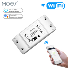 DIY WiFi Smart Light Switch Universal Breaker Timer Smart Life APP Wireless Remote Control Works with Alexa Google Home cheap MOES CN(Origin) ROHS Plastic 2 Years MS-101 Neutral+Live wire AC 110V-250V 50-60Hz 1800W IEEE802 11b G N WEP WPA-PSK WPA2-PSK