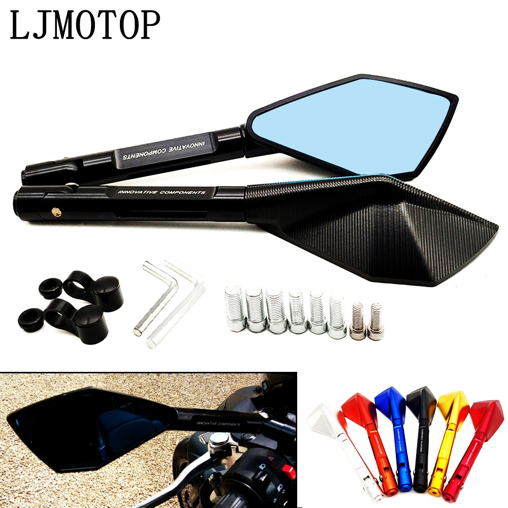 Motorcycle Mirror Aluminum Motorbike Handlebar Rearview Mirrors Blue For <font><b>Yamaha</b></font> <font><b>ttr</b></font> <font><b>125</b></font> 250 600 TTR600 XT250 TRICKER DT230 DT125 image