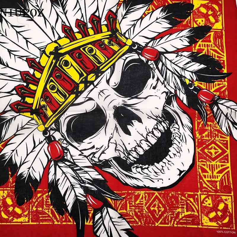 New Design Fashion Hip Hop 100% Cotton Skull Bandana Square Scarf Headband Gifts For Women/Men/Boys/Girls High Quality
