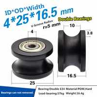 2pcs 4/5x25x16.5mm delrin dual bearing U groove pulley wheel sheave R5mm black color single bearing rolling pulley