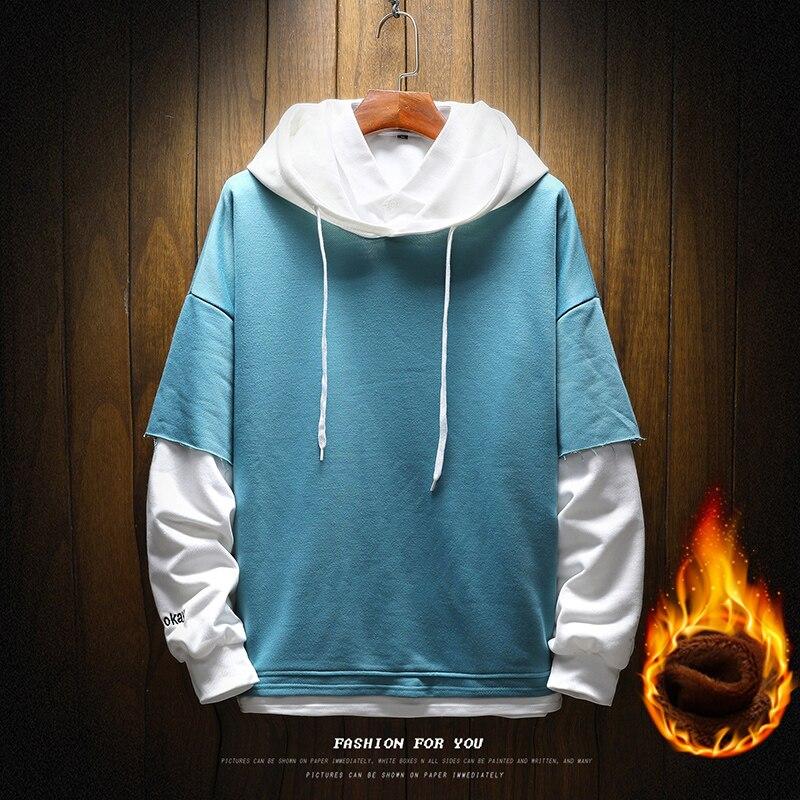 Pullover Plaid Long Sleeve fleece Hoodies Shirts Mens Hip Hop hoody hoodies Casual Shirts Fashion  japanese streetwear 3