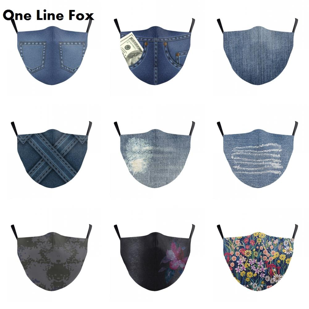 OneLineFox Unisex Denim Print Face Mask Adjustable Protective Anti Pollution Washable Fabric Face Mask Mouth-Muffle Reusable
