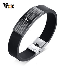 Vnox Spanish Bible Cross Prayer Bracelets for Men Woman Unisex Black Silicone Bangle Jewelry(China)